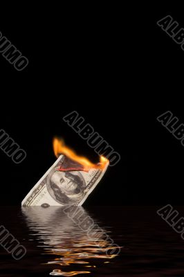 Burning & Sinking 100 Dollar Bill
