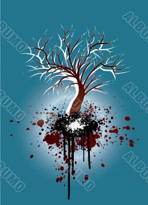 Grunge tree blue and red nature illustration