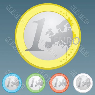 Euro currency coin of one Euro detailed trace