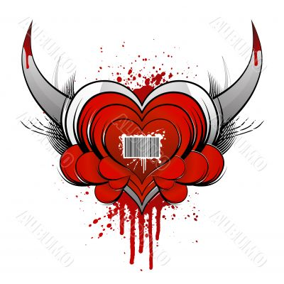 Barcode heart concept with blood