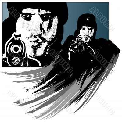 Gunman vector illustration in grunge style