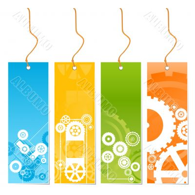 Four colored tags with technology theme