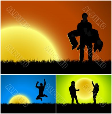 Three sunset silhouette backgrounds