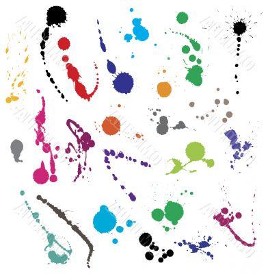 Collection of various ink splatter symbols vectors