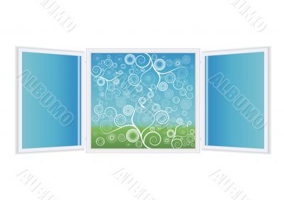 Open window illustration with spiral florals