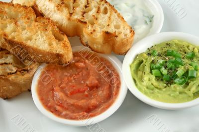 Three Dips And Turkish Bread