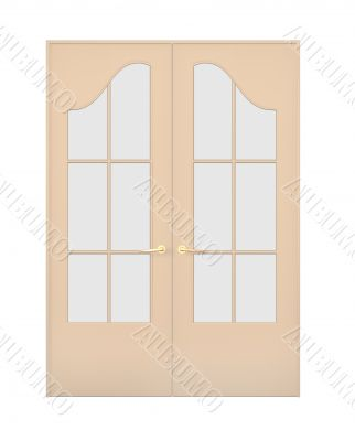 The closed double door with figured glasses