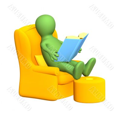 3d puppet, reading the book in a soft armchair