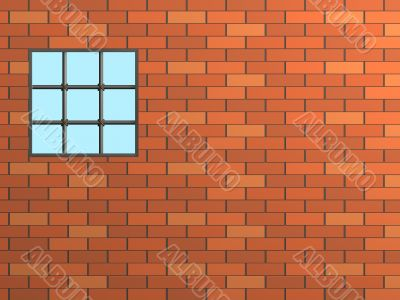 3d brick wall with a window, closed by a lattice