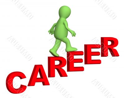 3d person, rising upwards on a ladder of career