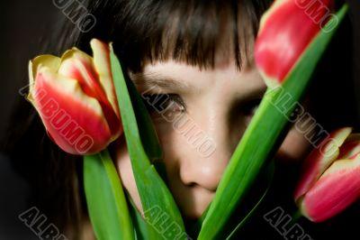 hiding in tulips