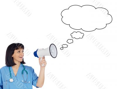Woman doctor with megaphone