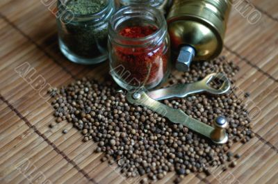 Herb and spices with grinder