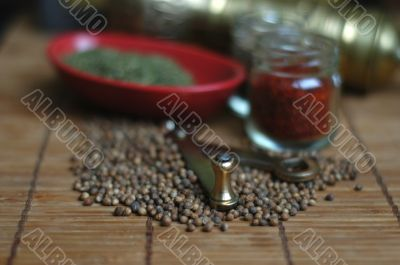 Herb spices and grinder