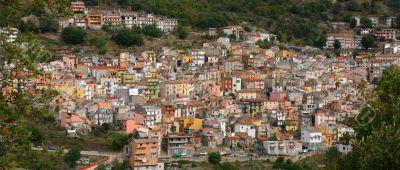 Panorama, Pastel houses on hillside,