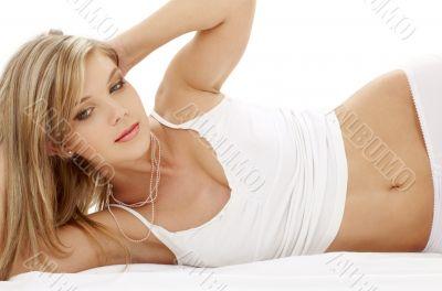blue-eyed blonde in white cotton underwear