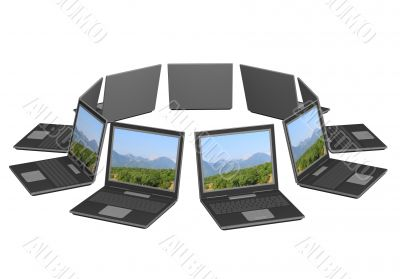 Nine 3d laptop, located around. Objects over white