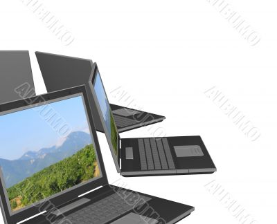 Four 3d laptop, located by a semicircle