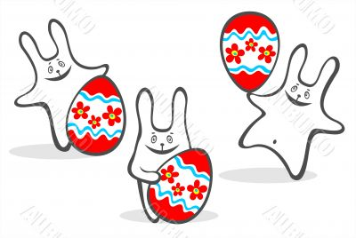 cheerful easter rabbits