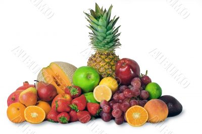 variety of colorful fruit, isolated