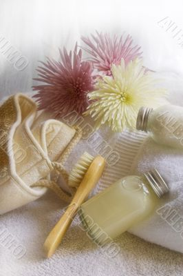bath items on white towel
