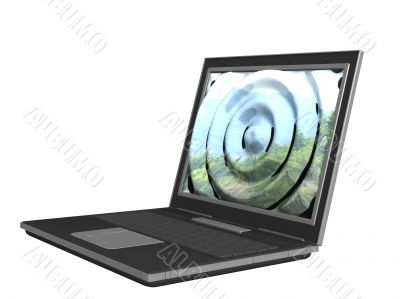 3d laptop with the deformed image on the monitor