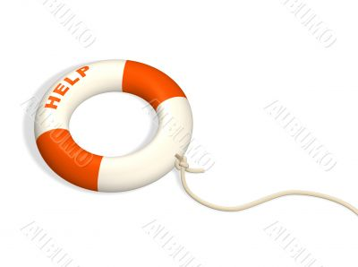 3d lifebuoy ring, adhered to a cord