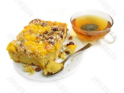 Slice of pie with raisins
