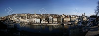 panorama of the center of Zuerich