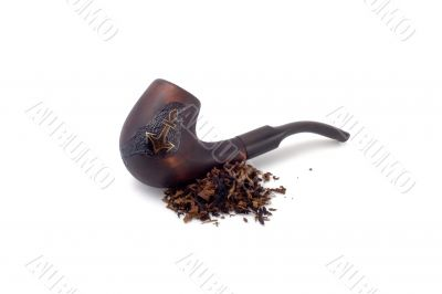 tobacco pipe and heap of tobacco