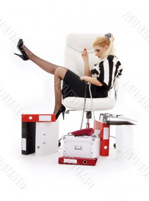 tired businesswoman in chair over white