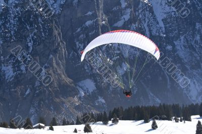 Paraglider, take-off.