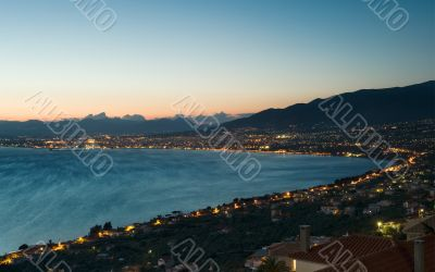 The city of Kalamata, Greece, at dusk
