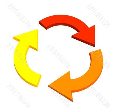 Three 3d arrows, showing recycling movement