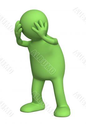 Upset 3d puppet, keeping for a head