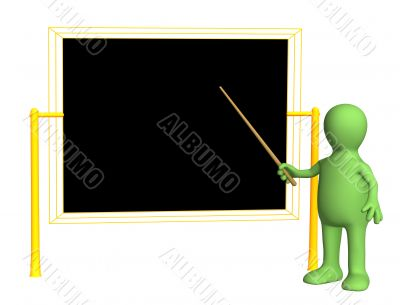 3d teacher - puppet, worth at a board with pick