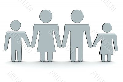 The image of family. 3D illustrations.