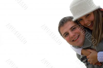 Smiling couple in touch