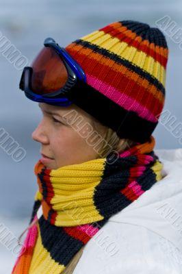 Beautiful girl in skiing mask