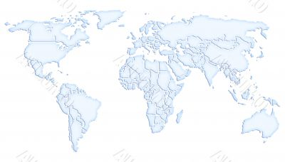 World map icy blue on white background