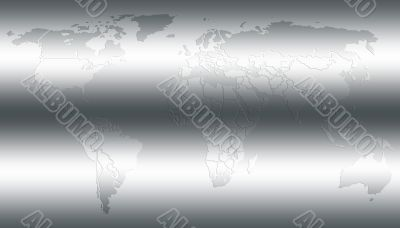 World map in shiny silver
