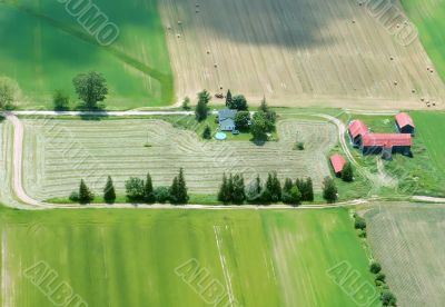 Aerial View of Farming House with red roof