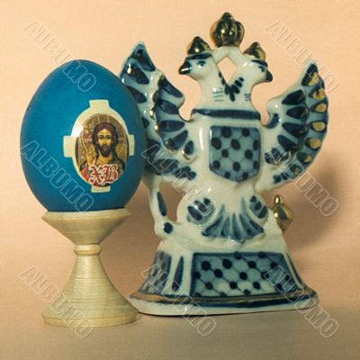 Easter eggs - pisanka with a face of the Christ