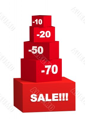 Sale - boxes with the goods for reduced prices