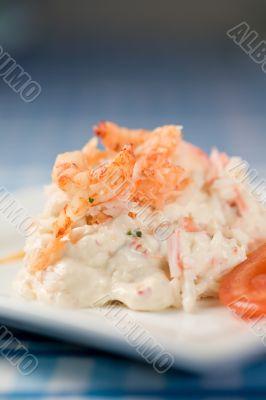 Delicious river crayfish salad