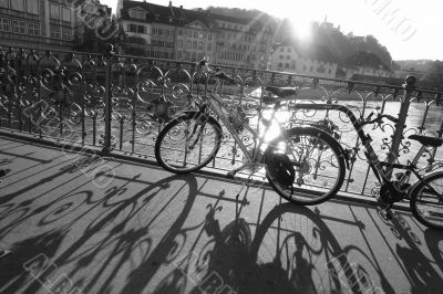 shadows from the bicycle