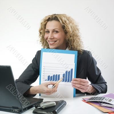 Woman showing good result