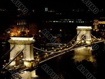 Széchenyi Chain Bridge in Budapest by night