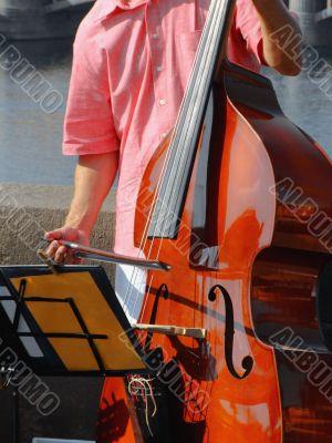Double-bass street player