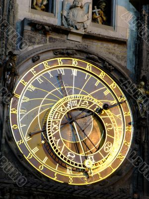 Close-up of the astronomical clock in Prague